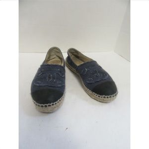 CHANEL Blue/Black Denim Cap Toe Espadrilles sz 37